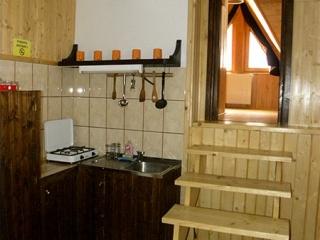 Pensiune Rustic House - bucatarie apartament cu vedere spre camera